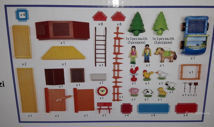 Игольчатый конструктор для детей от 2 лет На Ферме Bristle Blocks Battat