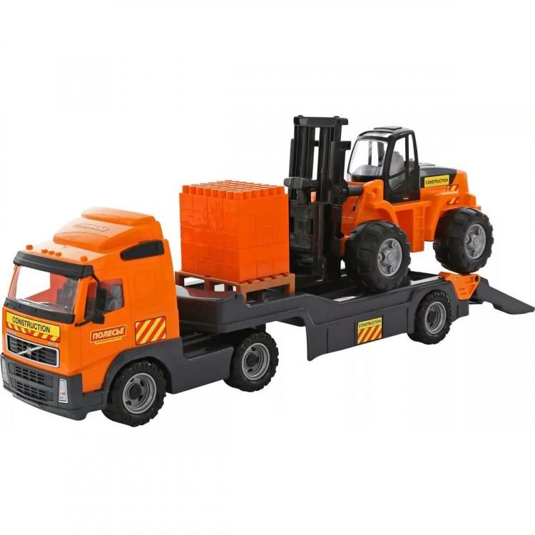 Volvo тягач с прицепом, погрузчиком и блоками конструктора ...