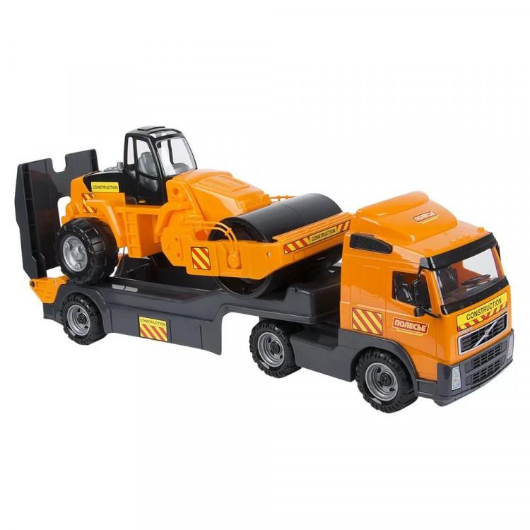 Volvo тягач с прицепом и дорожным катком в коробке для ...